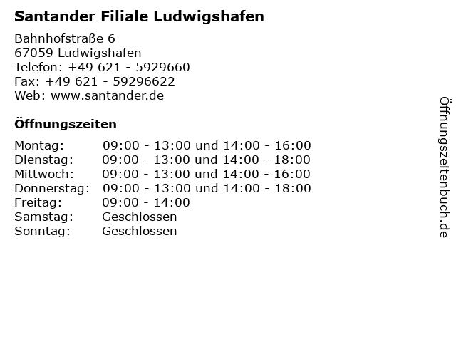 Santander Filiale Ludwigshafen in Ludwigshafen: Adresse und Öffnungszeiten
