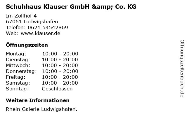 Schuhhaus Klauser GmbH & Co. KG in Ludwigshafen: Adresse und Öffnungszeiten