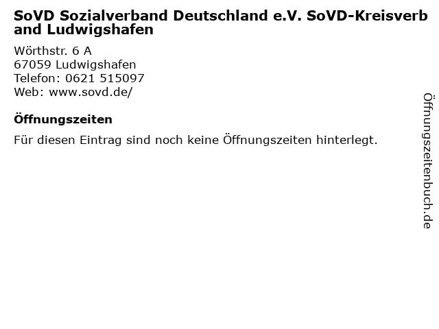 SoVD Sozialverband Deutschland e.V. SoVD-Kreisverband Ludwigshafen in Ludwigshafen: Adresse und Öffnungszeiten