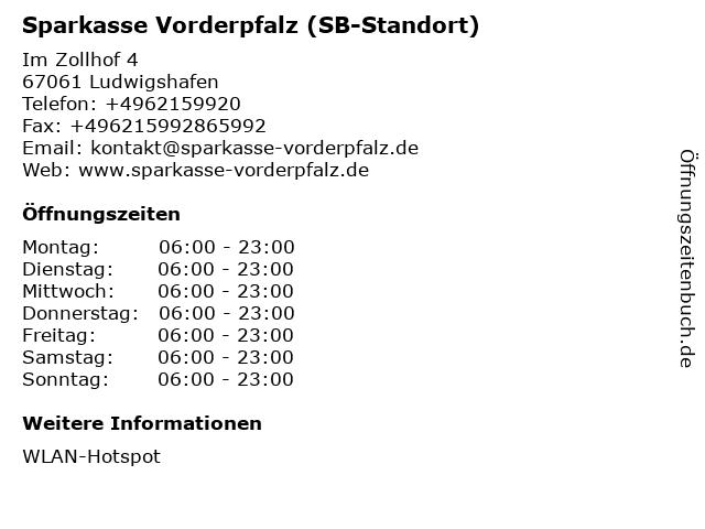 Sparkasse Vorderpfalz - (Geldautomat Geschäftsstelle) in Ludwigshafen: Adresse und Öffnungszeiten