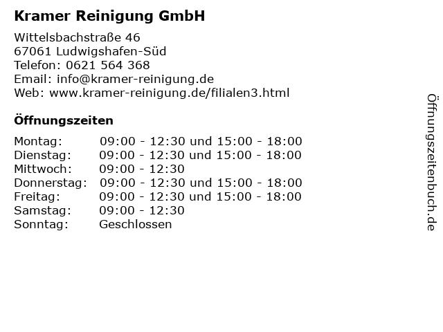 Kramer Reinigung GmbH in Ludwigshafen-Süd: Adresse und Öffnungszeiten