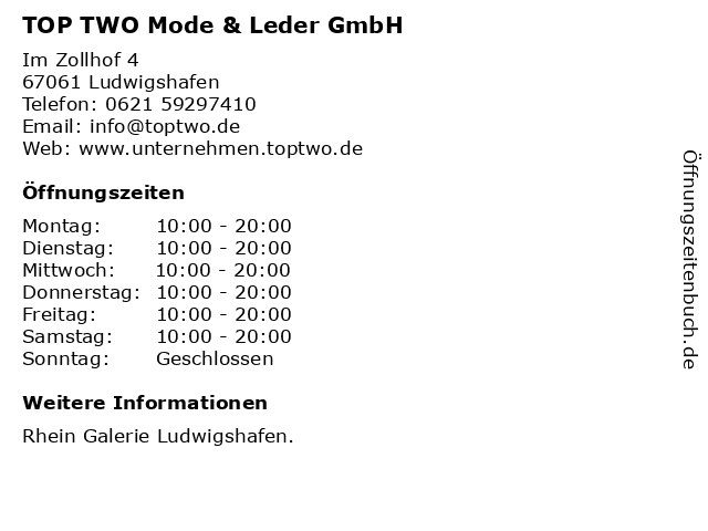 TOP TWO Mode & Leder GmbH in Ludwigshafen: Adresse und Öffnungszeiten