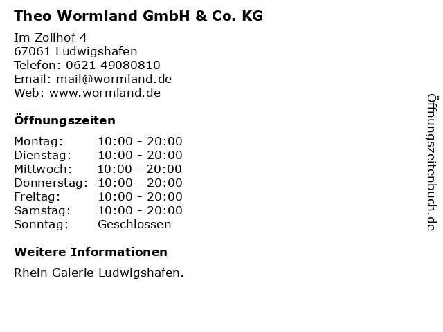 Theo Wormland GmbH & Co. KG in Ludwigshafen: Adresse und Öffnungszeiten