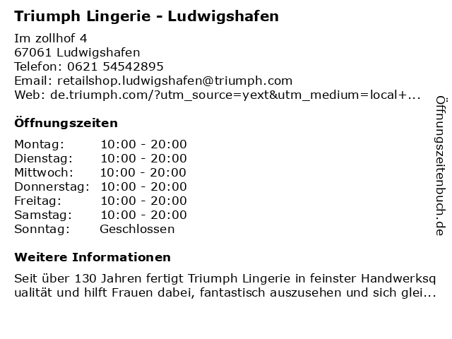 Triumph Lingerie in Ludwigshafen: Adresse und Öffnungszeiten