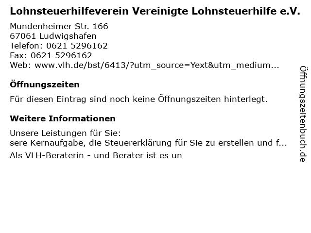 Vereinigte Lohnsteuerhilfe e.V. Pia Jordis-Felleisen in Ludwigshafen: Adresse und Öffnungszeiten