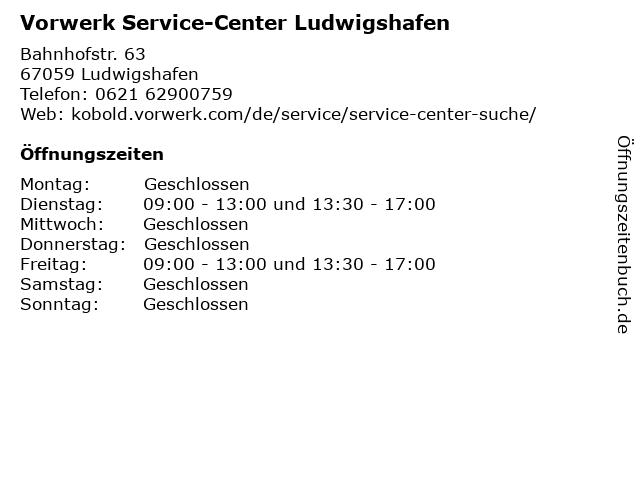 Vorwerk Service-Center Ludwigshafen in Ludwigshafen: Adresse und Öffnungszeiten