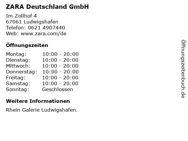 ZARA Deutschland GmbH in Ludwigshafen: Adresse und Öffnungszeiten