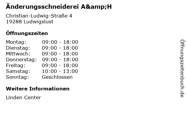 Änderungsschneiderei A&H in Ludwigslust: Adresse und Öffnungszeiten