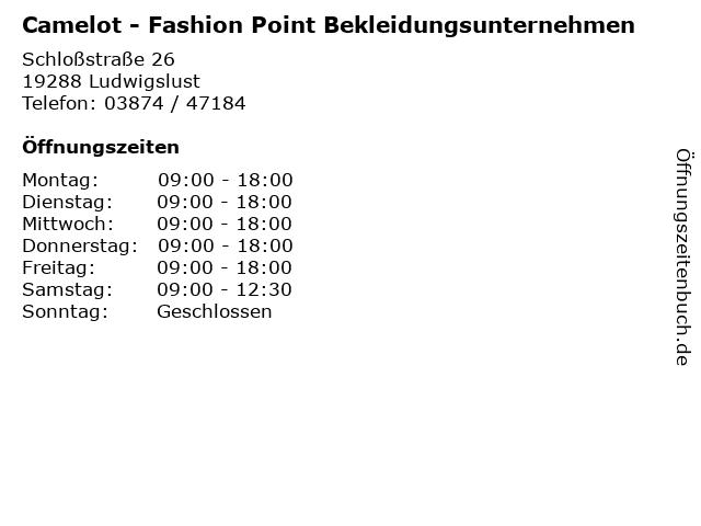 Camelot - Fashion Point Bekleidungsunternehmen in Ludwigslust: Adresse und Öffnungszeiten