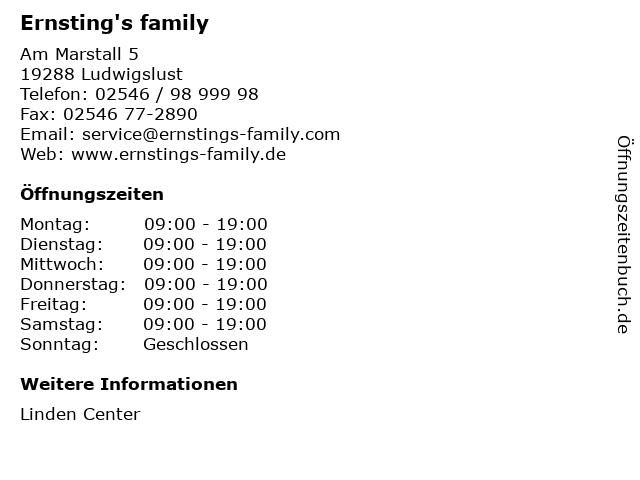Ernsting's family GmbH & Co. KG in Ludwigslust: Adresse und Öffnungszeiten