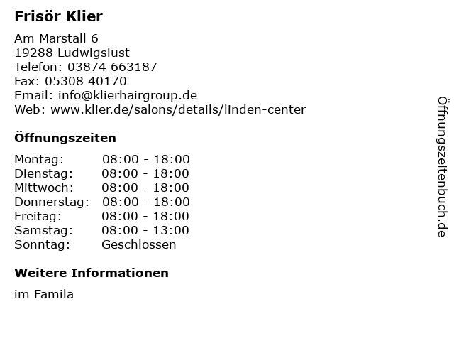Frisör Klier GmbH in Ludwigslust: Adresse und Öffnungszeiten