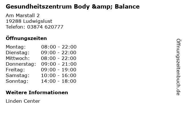 Gesundheitszentrum Body & Balance in Ludwigslust: Adresse und Öffnungszeiten