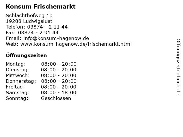 Konsum Frischemarkt - Deutsche Post Filiale in Ludwigslust: Adresse und Öffnungszeiten