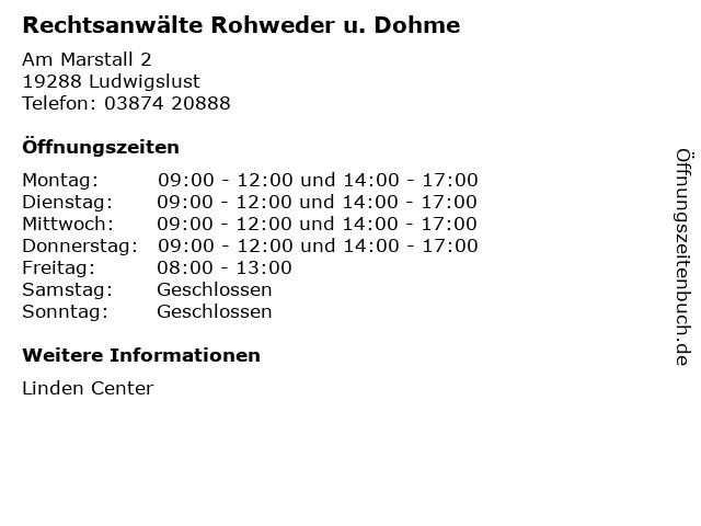 Rechtsanwälte Rohweder u. Dohme in Ludwigslust: Adresse und Öffnungszeiten