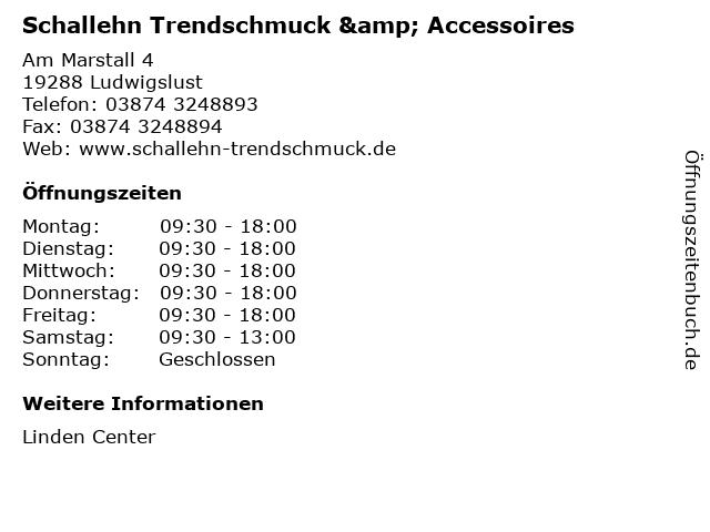Schallehn Trendschmuck & Accessoires in Ludwigslust: Adresse und Öffnungszeiten