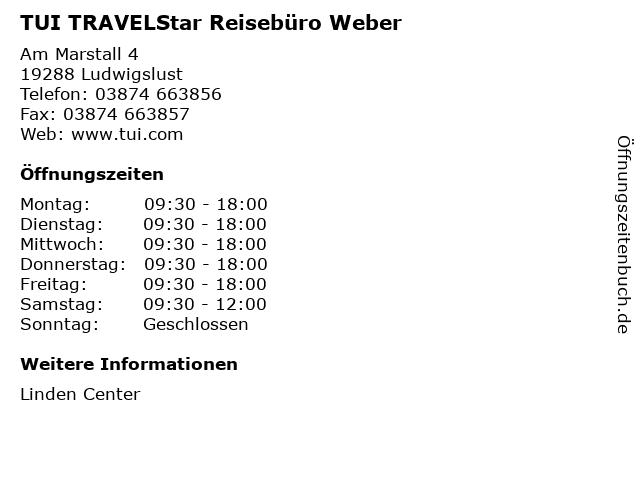 TUI TRAVELStar Reisebüro Weber in Ludwigslust: Adresse und Öffnungszeiten