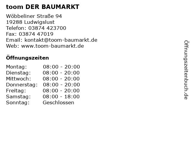 toom DER BAUMARKT in Ludwigslust: Adresse und Öffnungszeiten
