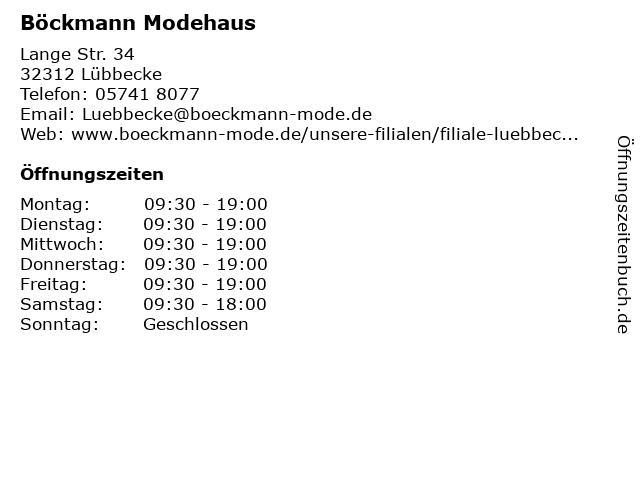 Böckmann Modehaus in Lübbecke: Adresse und Öffnungszeiten