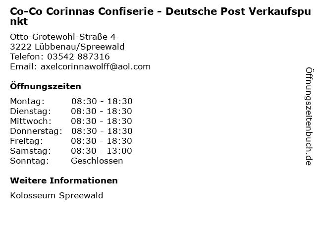 Co-Co Corinnas Confiserie - Deutsche Post Verkaufspunkt in Lübbenau/Spreewald: Adresse und Öffnungszeiten
