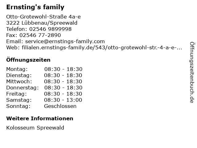 Ernsting's family GmbH & Co. KG in Lübbenau/Spreewald: Adresse und Öffnungszeiten