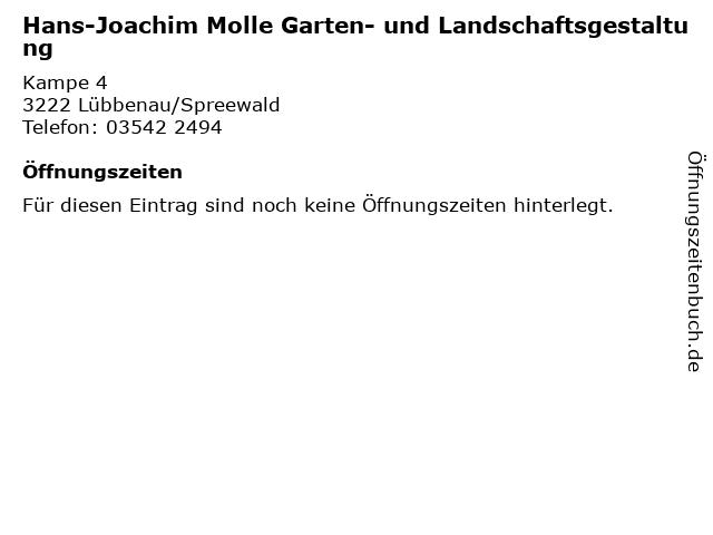 Hans-Joachim Molle Garten- und Landschaftsgestaltung in Lübbenau/Spreewald: Adresse und Öffnungszeiten