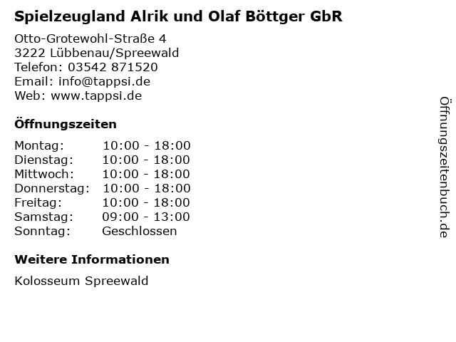 Spielzeugland Alrik und Olaf Böttger GbR in Lübbenau/Spreewald: Adresse und Öffnungszeiten
