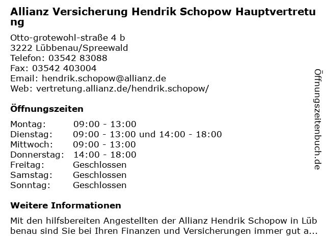 Allianz Hauptvertretung Hendrik Schopow in Lübbenau: Adresse und Öffnungszeiten