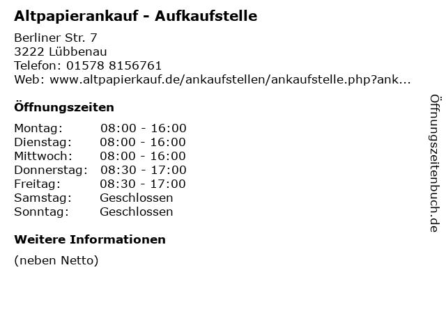 Altpapierankauf - Aufkaufstelle in Lübbenau - Zerkwitz: Adresse und Öffnungszeiten