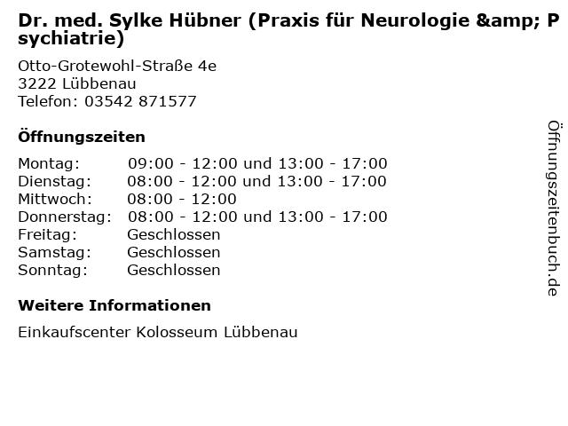 Dr. med. Sylke Hübner (Praxis für Neurologie & Psychiatrie) in Lübbenau: Adresse und Öffnungszeiten