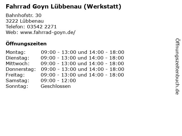Fahrrad Goyn Lübbenau (Werkstatt) in Lübbenau: Adresse und Öffnungszeiten