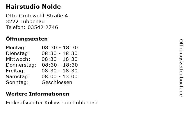 Hairstudio Nolde in Lübbenau: Adresse und Öffnungszeiten
