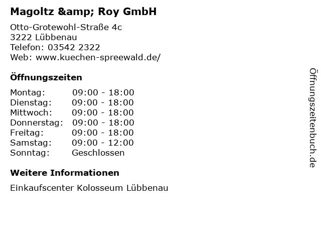Magoltz & Roy GmbH in Lübbenau: Adresse und Öffnungszeiten