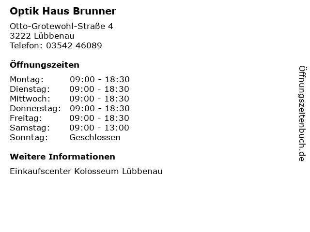 Optik Haus Brunner in Lübbenau: Adresse und Öffnungszeiten