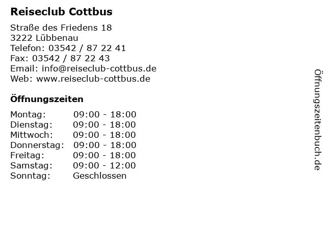 Reiseclub Cottbus in Lübbenau: Adresse und Öffnungszeiten