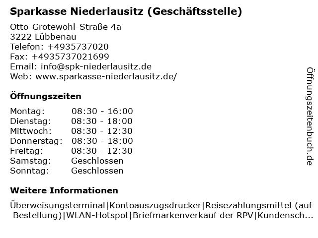 Sparkasse Niederlausitz - Geschäftsstelle Lübbenau-Neustadt in Lübbenau: Adresse und Öffnungszeiten