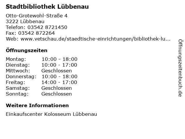 Stadtbibliothek Lübbenau in Lübbenau: Adresse und Öffnungszeiten