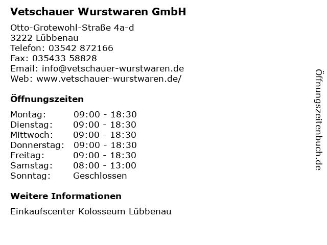 Vetschauer Wurstwaren GmbH in Lübbenau: Adresse und Öffnungszeiten