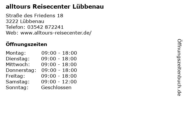 alltours Reisecenter Lübbenau in Lübbenau: Adresse und Öffnungszeiten