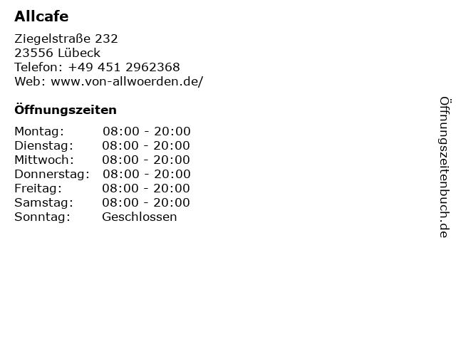 ALLCafe deli & coffeeshop in Lübeck: Adresse und Öffnungszeiten