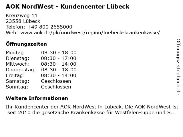 AOK NORDWEST - Kundencenter Lübeck in Lübeck: Adresse und Öffnungszeiten
