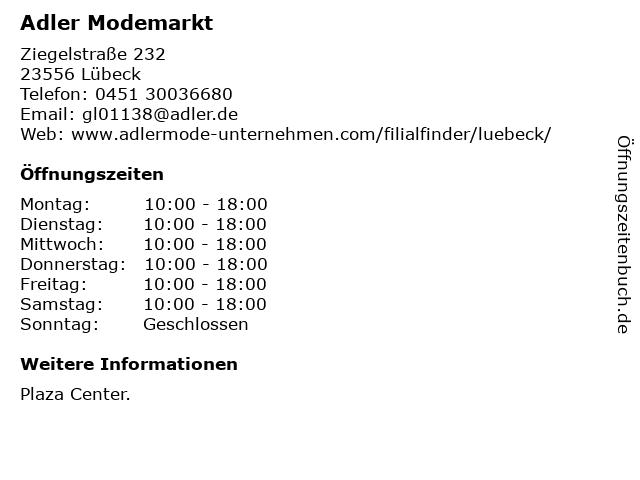 Adler Modemärkte AG in Lübeck: Adresse und Öffnungszeiten