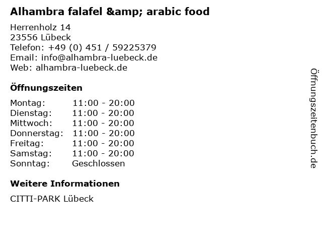 Alhambra falafel & arabic food in Lübeck: Adresse und Öffnungszeiten