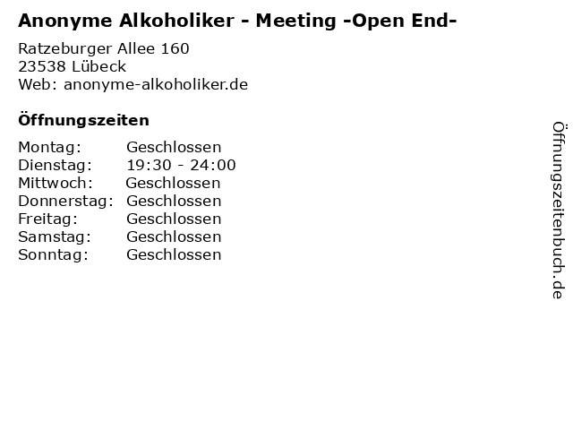 Anonyme Alkoholiker - Meeting -Open End- in Lübeck: Adresse und Öffnungszeiten