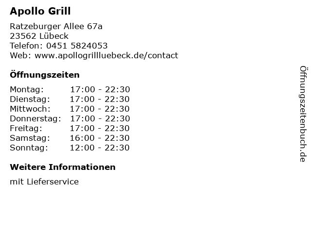 Apollo Grill in Lübeck: Adresse und Öffnungszeiten