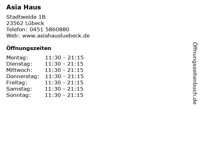 Asia Haus in Lübeck: Adresse und Öffnungszeiten