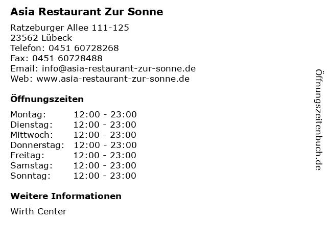 Asia Restaurant Zur Sonne in Lübeck: Adresse und Öffnungszeiten
