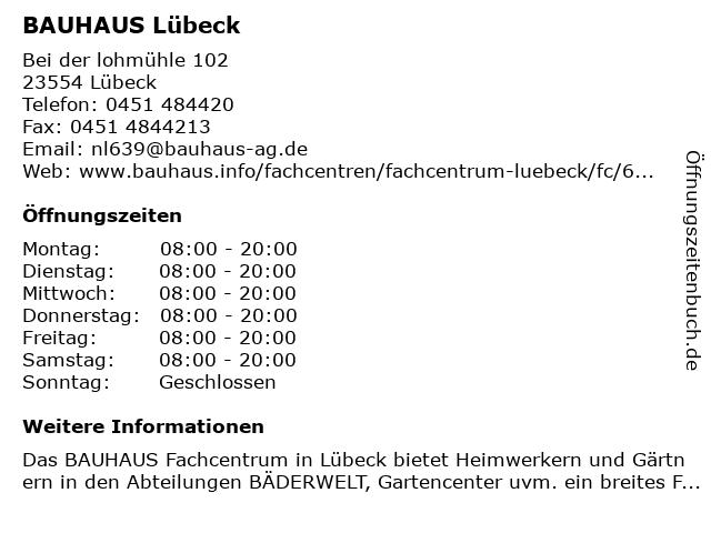 ᐅ Offnungszeiten Bauhaus Lubeck Bei Der Lohmuhle 102 In Lubeck