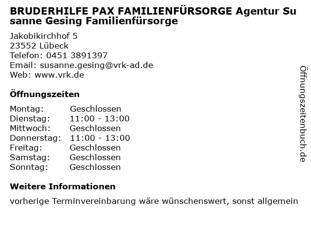 BRUDERHILFE PAX FAMILIENFÜRSORGE Agentur Susanne Gesing Familienfürsorge in Lübeck: Adresse und Öffnungszeiten