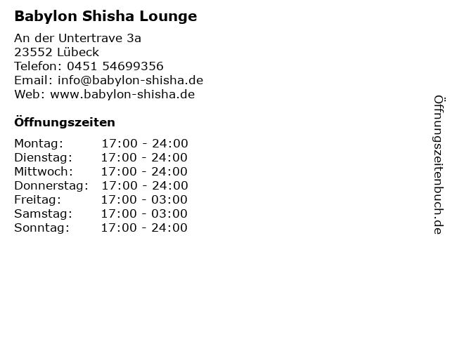 Babylon Shisha Lounge in Lübeck: Adresse und Öffnungszeiten