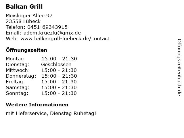 Balkan Grill in Lübeck: Adresse und Öffnungszeiten